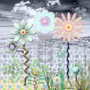 prato fiorito in riva al mare indaco